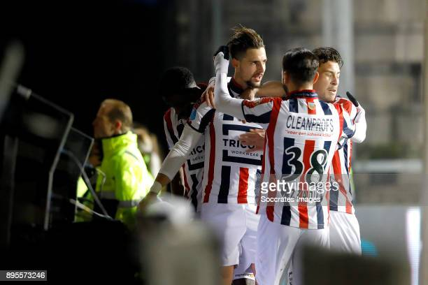 Fran Sol of Willem II celebrates 10 with Ismail Azzaoui of Willem II Thom Haye of Willem II during the Dutch KNVB Beker match between Willem II v RKC...