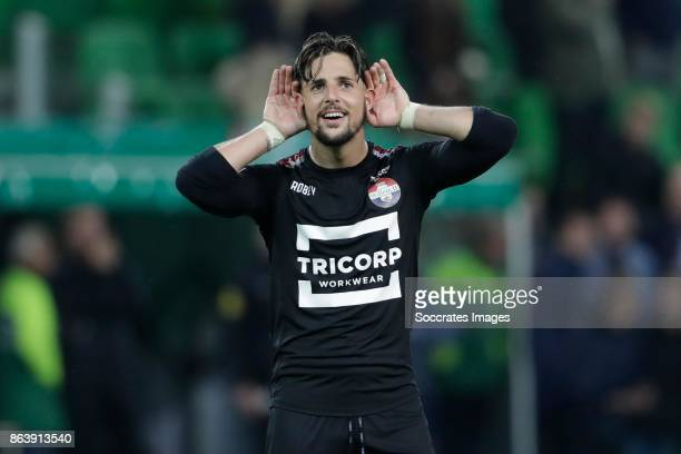 Fran Sol of Willem II celebrates the victory during the Dutch Eredivisie match between FC Groningen v Willem II at the Noordlease stadium on October...
