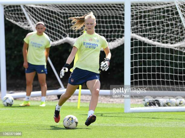 Fran Stenson of Arsenal during the Arsenal Women training session at Arsenal Academy on July 29 2020 in Walthamstow England