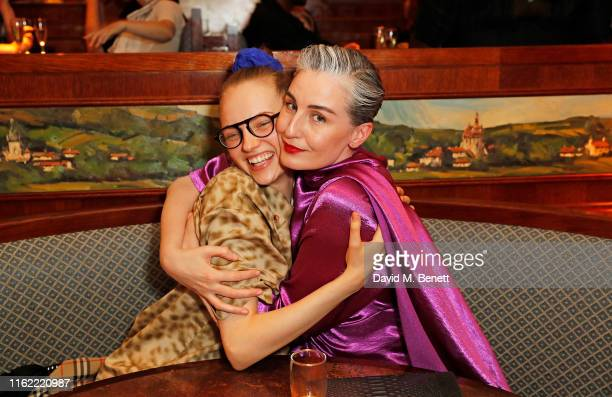 Fran Summers and Erin O'Connor attend the #MOVINGLOVE dinner hosted by Felicity Jones Derek Blasberg Katie Grand at Bellanger on July 15 2019 in...
