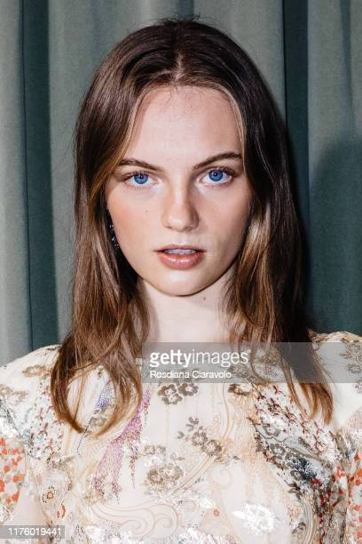 Fran Summers poses at backstage for Etro fashion show during the Milan Fashion Week Spring/Summer 2020 on September 20, 2019 in Milan, Italy.