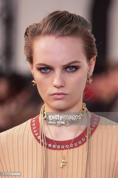 Fran Summers walks the runway during the Chloe Womenswear Spring/Summer 2020 show as part of Paris Fashion Week on September 26, 2019 in Paris,...