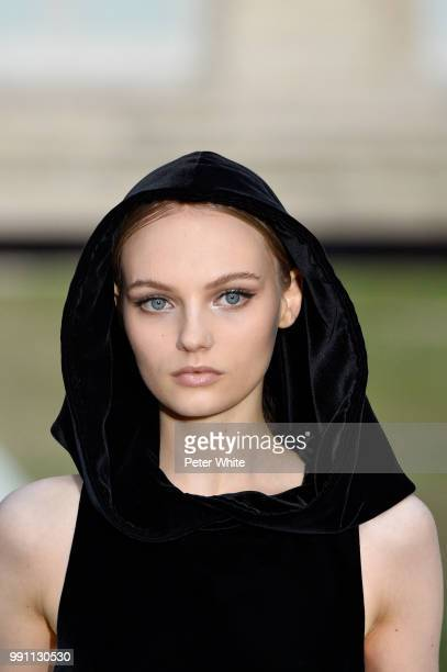Fran Summers walks the runway during the Givenchy Haute Couture Fall Winter 2018/2019 show as part of Paris Fashion Week on July 1 2018 in Paris...