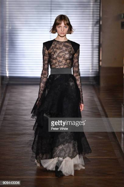 Fran Summers walks the runway during the Givenchy Spring Summer 2018 show as part of Paris Fashion Week on January 23 2018 in Paris France