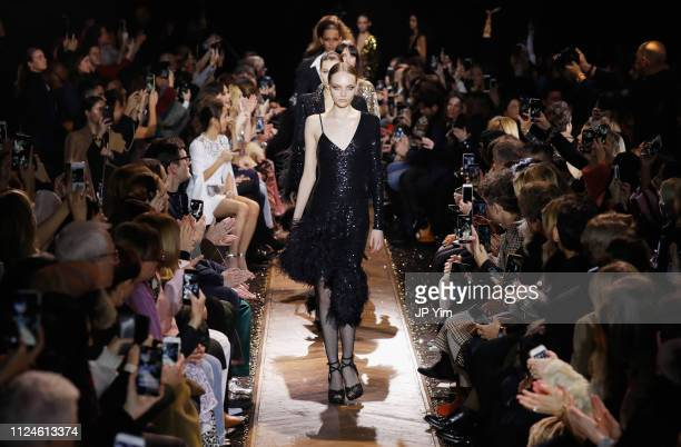 Fran Summers walks the runway during the Michael Kors Collection Fall 2019 Runway Show at Cipriani Wall Street on February 13 2019 in New York City
