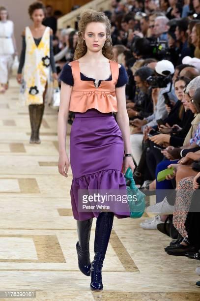 Fran Summers walks the runway during the Miu Miu Womenswear Spring/Summer 2020 show as part of Paris Fashion Week on October 01, 2019 in Paris,...