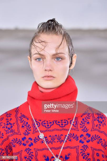 Fran Summers walks the runway during the Sacai Menswear Fall/Winter 20182019 show as part of Paris Fashion Week on January 20 2018 in Paris France
