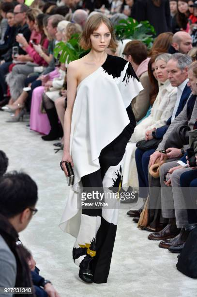 Fran Summers walks the runway during the Valentino show as part of the Paris Fashion Week Womenswear Fall/Winter 2018/2019 on March 4 2018 in Paris...