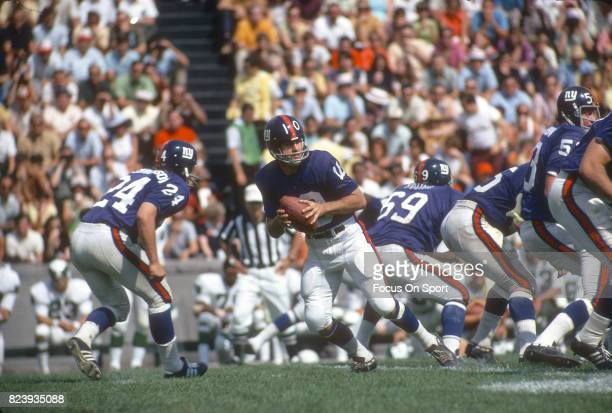 Fran Tarkenton of the New York Giants drops back to pass against the Philadelphia Eagles during an NFL football game November 17 1968 at Yankee...
