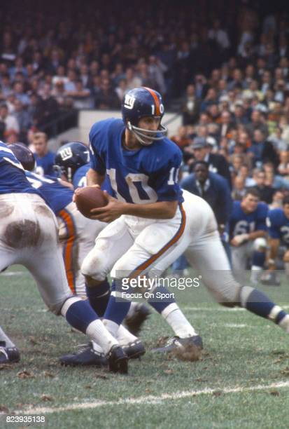 Fran Tarkenton of the New York Giants in action against the Washington Redskins during an NFL football game September 29 1968 at Yankee Stadium in...