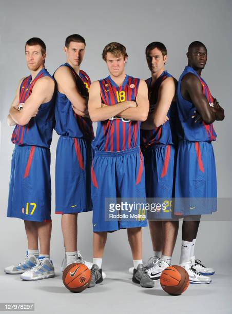 Fran Vazquez #17 Kosta Perovic #13 Charles Wallace #18 Erazem Lorbek #25 and Boniface Ndong #21 pose during the FC Barcelona Regal 2011/2012 Turkish...