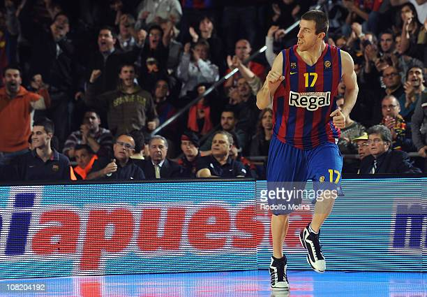 Fran Vazquez #17 of Regal FC Barcelona celebrates during the 20102011 Turkish Airlines Euroleague Top 16 Date 1 game between Regal FC Barcelona vs...