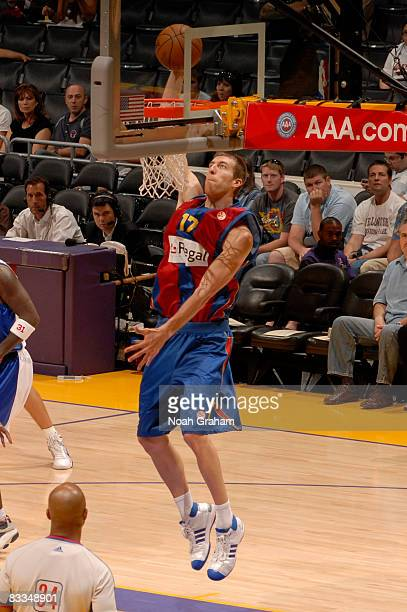 Fran Vazquez of Regal FC Barcelona rises for a dunk during the game against the Los Angeles Clippers at Staples Center on October 19 2008 in Los...