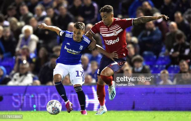 Fran Villalba of Birmingham City competes for the ball with Marcus Tavernier of Middlesbrough during the Sky Bet Championship match between...