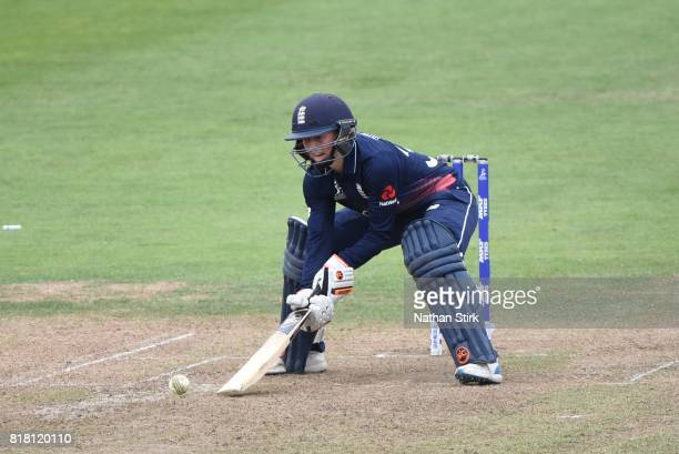 Fran Wilson of England batting during the SemiFinal ICC Women's World Cup 2017 match between England and South Africa at The Brightside Ground on...
