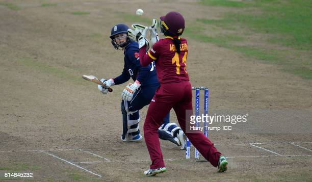 Fran Wilson of England looks back as she is caught by Merissa Aguilleira of West Indies during the ICC Women's World Cup 2017 match between England...