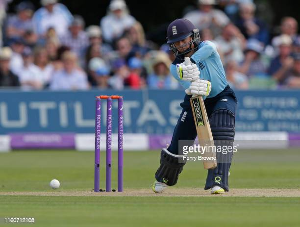 Fran Wilson of England plays a shot during the England v Australia 3rd Royal London Women's ODI at The Spitfire Ground on July 7, 2019 in Canterbury,...