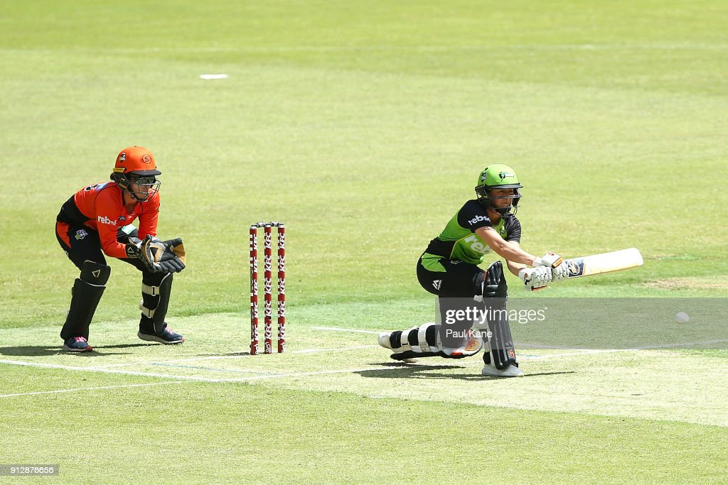 Fran Wilson of the Thunder bats during the Women's Big Bash League match between the Sydney Thunder and the Perth Scorchers at Optus Stadium on February 1, 2018 in Perth, Australia.