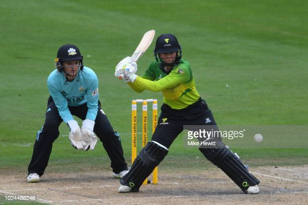 Fran Wilson of Western Storm hits out as wicketkeeper Sarah Taylor of Surrey Stars looks on during the semifinal between Western Storm and Surrey...