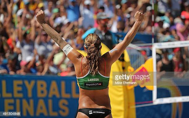 Franca Larissa of Brazil celebrates winning a point during the gold medal match against Laura Ludwig and Kira Walkenhorst of Germany at the FIVB Fort...