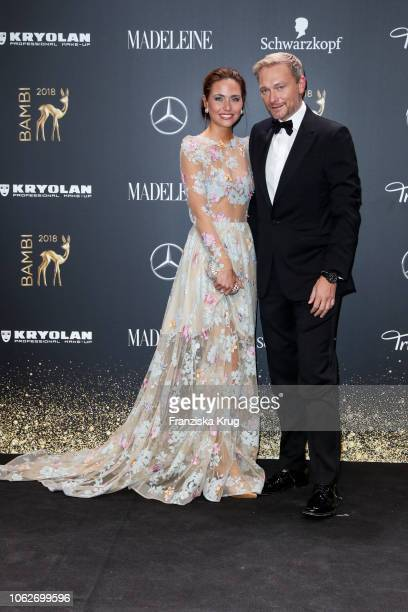 Franca Lehfeldt and Christian Lindner arrive for the 70th Bambi Awards at Stage Theater on November 16, 2018 in Berlin, Germany.