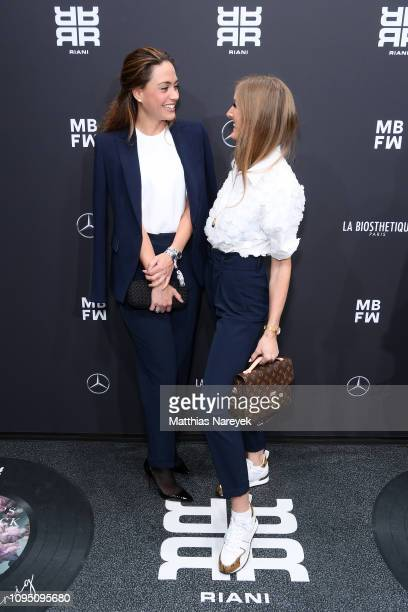Franca Lehfeldt and Leslie Huhn attends the Riani show during the Berlin Fashion Week Autumn/Winter 2019 at ewerk on January 16, 2019 in Berlin,...
