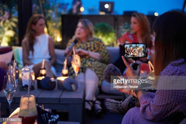 Franca Lehfeldt, Franziska Leonhardt and Alexandra Lapp attend the Iphoria Influencer event at Hotel Zoo on August 30, 2019 in Berlin, Germany.