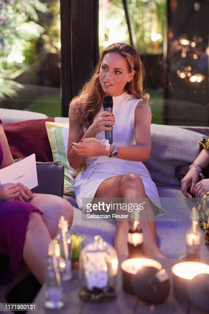Franca Lehfeldt speaks the Iphoria Influencer event at Hotel Zoo on August 30, 2019 in Berlin, Germany.