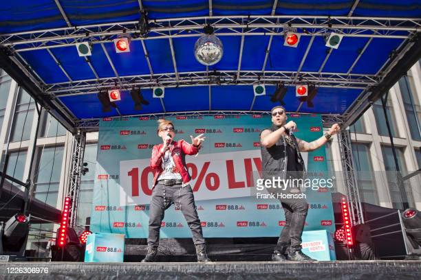 Franca Morgano and Nitro of the German band Magic Affair perform live on a 90er Drive-In concert at exhibition ground on May 21, 2020 in Berlin,...