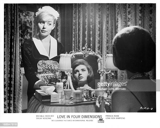 Franca Polesello talks with Sylva Koscina in a scene from the film 'Love In Four Dimensions' 1964