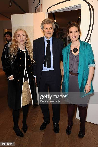 Franca Sozzani Alain Elkann and Ginevra Elkann attend the Press Preview of the 'The Museum Of Everything' at the Pinacoteca Giovanni e Marella...