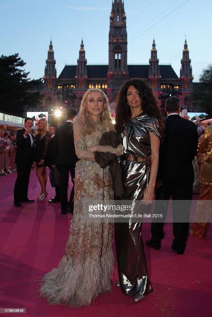 Franca Sozzani (L) and Afef Jnifen attend the Life Ball 2015 at City Hall on May 16, 2015 in Vienna, Austria.