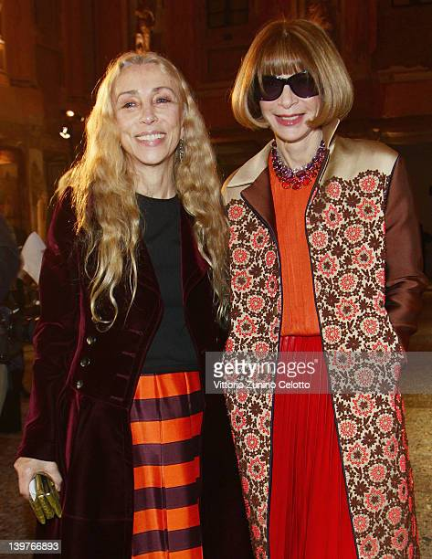 Franca Sozzani and Anna Wintour attend the Miuccia Prada And Elsa Schiapparelli Impossible Conversations opening exhibition during Milan Womenswear...
