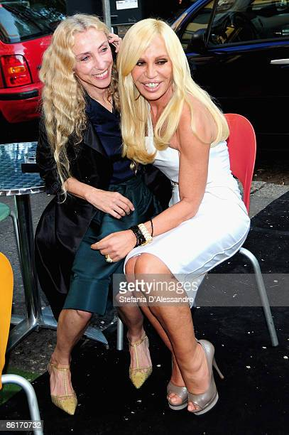 Franca Sozzani and Donatella Versace attend the 'Emotional Refractions' Cocktail Party at the Versace Theatre as part as Milan International...
