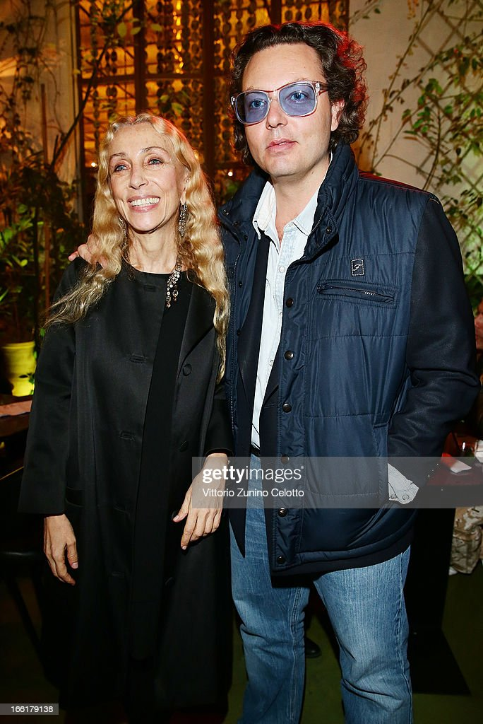 Franca Sozzani and Emanuele Della Valle attend Citroen DS Sofa and DS3 Cabrio L'Uomo Vogue Limited Edition cocktail at Corso Como 10 on April 9, 2013 in Milan, Italy.