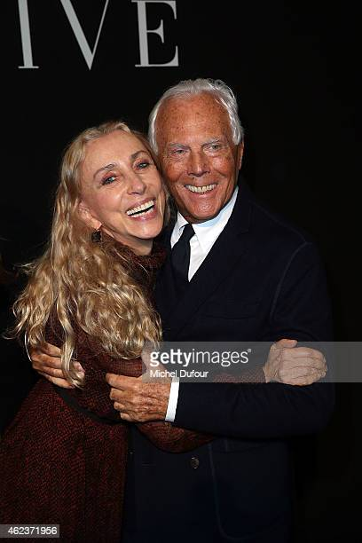 Franca Sozzani and Georgio Armani arrive at the Giorgio Armani Prive show as part of Paris Fashion Week HauteCouture Spring/Summer 2015 on January 27...