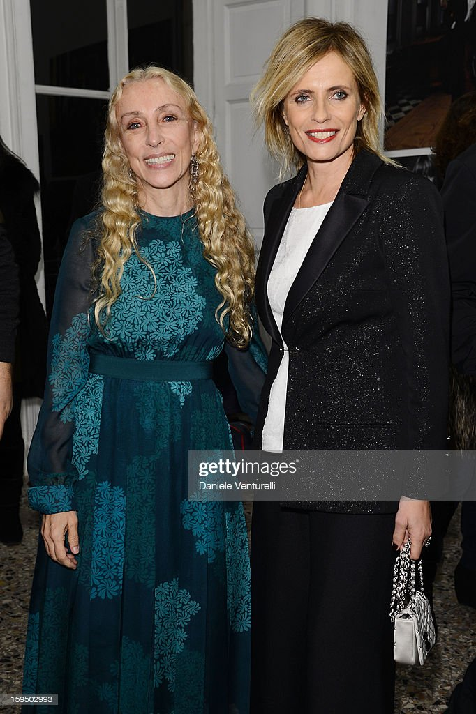 Franca Sozzani and Isabella Ferrari attend the 'So Chic So Stylish' cocktail party as part of Milan Fashion Week Menswear Autumn/Winter 2013 on January 14, 2013 in Milan, Italy.