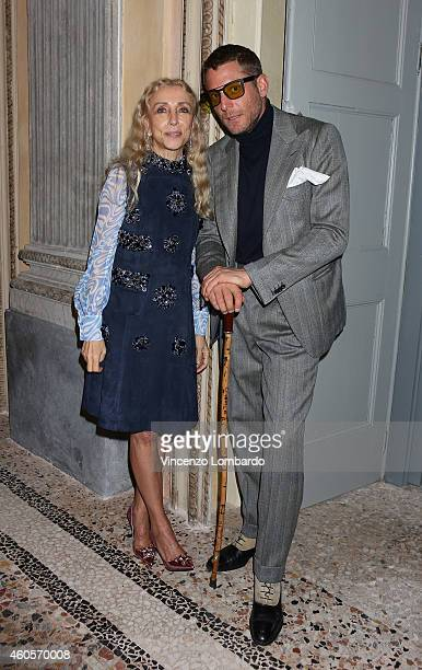 Franca Sozzani and Lapo Elkann attend the Fondazione IEO CCM Christmas Dinner For on December 16 2014 in Monza Italy