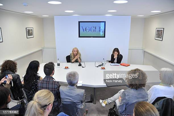 Franca Sozzani and Lisa Armstrong during the Q & A at Vogue Experience at Harvey Nichols on June 8, 2011 in London, England.