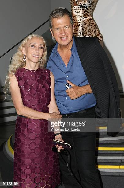 Franca Sozzani and Mario Testino attend the Stefanel 50th Anniversary Party as part of the Milan Womenswear Fashion Week Spring/Summer 2010 at the...