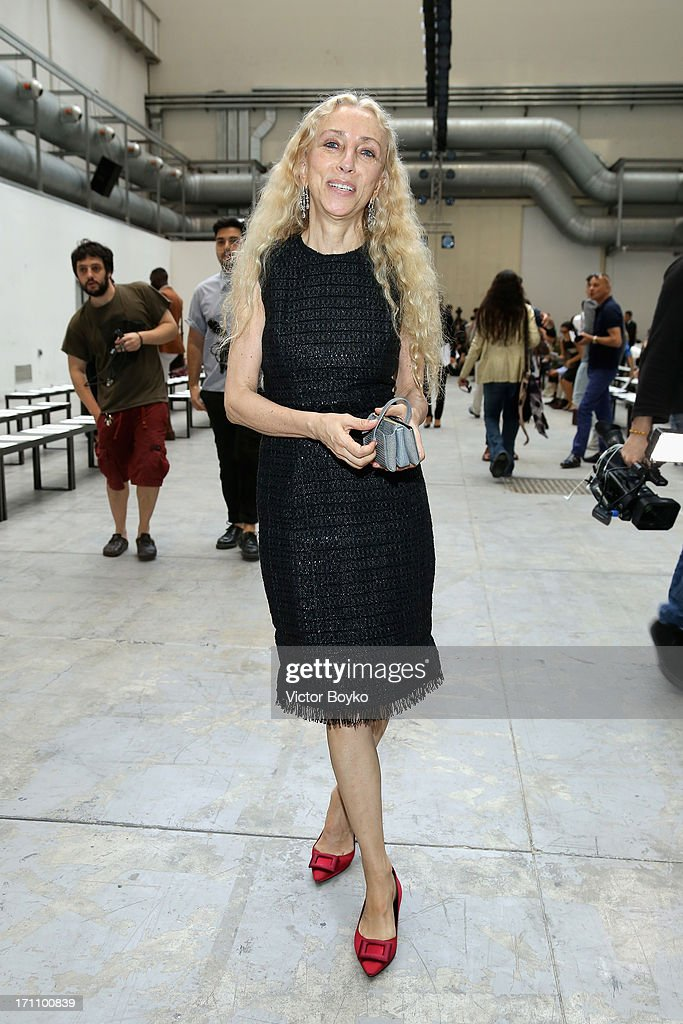 Franca Sozzani attends the Costume National Homme show during Milan Menswear Fashion Week Spring Summer 2014 on June 22, 2013 in Milan, Italy.