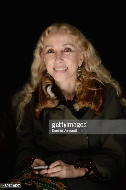 Franca Sozzani attends the Roberto Cavalli show as a part of Milan Fashion Week Menswear Autumn/Winter 2014 on January 14, 2014 in Milan, Italy.