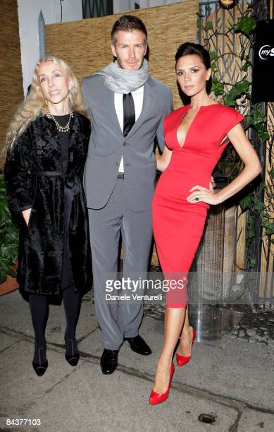 """Franca Sozzani, David and Victoria Beckham attend the """"My Sky HD Wears Fendi"""" cocktail party as part of Milan Fashion Week Autumn/Winter 2009/2010..."""
