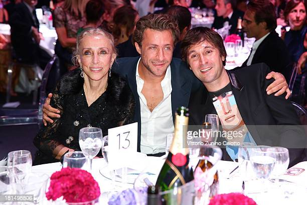 Franca Sozzani Francesco Vezzoli and guest attend the amfAR Milano 2013 Gala Dinner as part of Milan Fashion Week Womenswear Spring/Summer 2014 at La...
