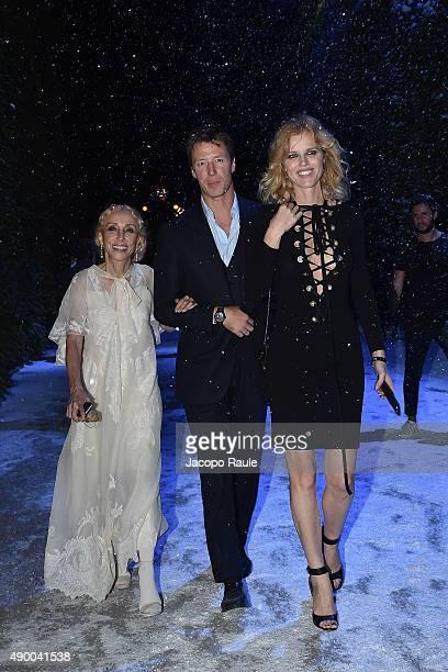Franca Sozzani Gregorio Marsiaj and Eva Herzigova attend the Givenchy #GRTmilano17 party during the Milan Fashion Week Spring/Summer 2016 on...