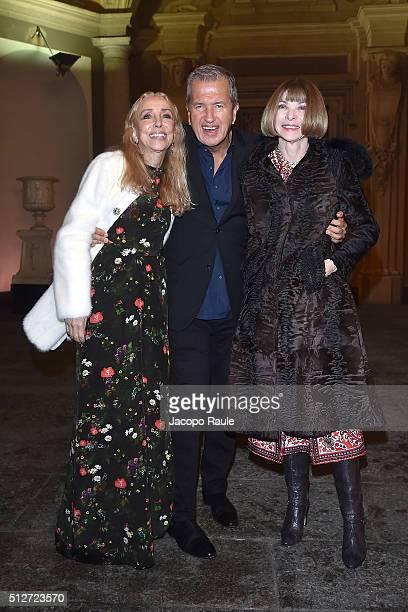 Franca Sozzani Mario Testino and Anna Wintour attend Vogue Cocktail Party honoring photographer Mario Testino on February 27 2016 in Milan Italy
