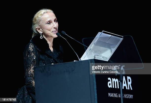 Franca Sozzani on stage during the amfAR Milano 2013 Gala Auction as part of Milan Fashion Week Womenswear Spring/Summer 2014 at La Permanente on...