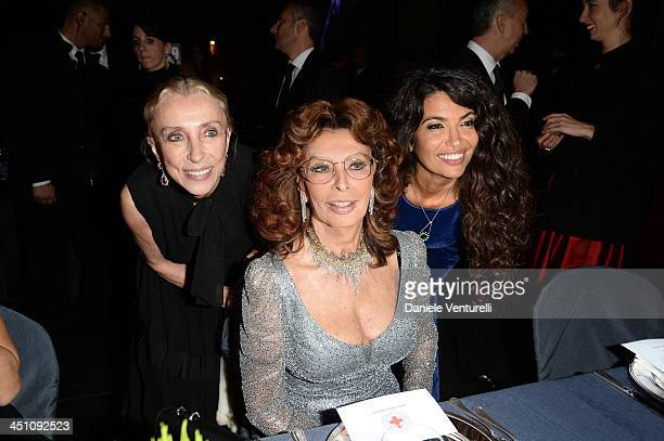 Franca Sozzani Sophia Loren and Afef Jnifen attend The Pirelli Calendar 50th Anniversary Dinner on November 21 2013 in Milan Italy