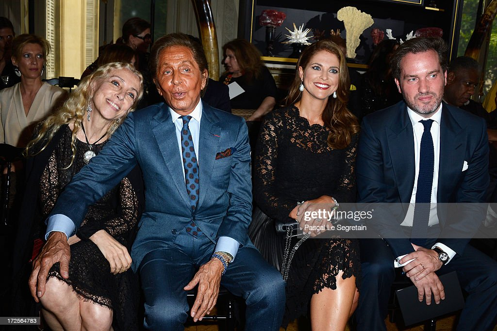 Franca Sozzani, Valentino Garavani, Princess Madeleine of Sweden and Christopher O'Neill attend the Valentino show as part of Paris Fashion Week Haute-Couture Fall/Winter 2013-2014 at Hotel Salomon de Rothschild on July 3, 2013 in Paris, France.