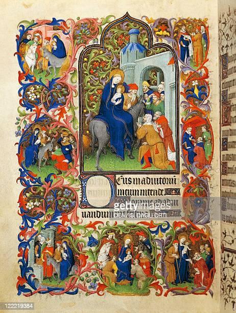 France 15th century Illuminated manuscript Book of Hours The flight into Egypt 141015 Manuscript 469 folio 70